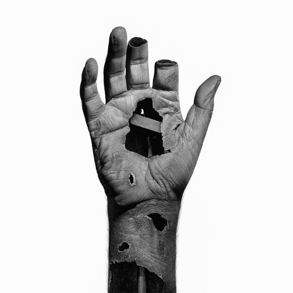 Fragments of human flesh